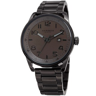 Akribos XXIV Men's Quartz Date Stainless Steel Easy-to-Read Brown Bracelet Watch