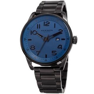 Akribos XXIV Men's Quartz Date Stainless Steel Easy-to-Read Blue Bracelet Watch