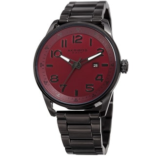 Akribos XXIV Men's Quartz Date Stainless Steel Easy-to-Read Red Bracelet Watch