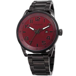 Akribos XXIV Men's Quartz Date Stainless Steel Easy-to-Read Red Bracelet Watch