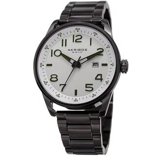 Akribos XXIV Men's Quartz Date Stainless Steel Easy-to-Read Black Bracelet Watch