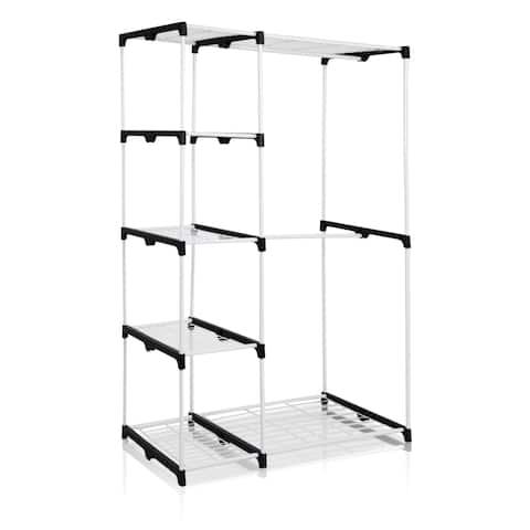 Porch & Den Cornell Grey Metal Freestanding Double-rod Closet