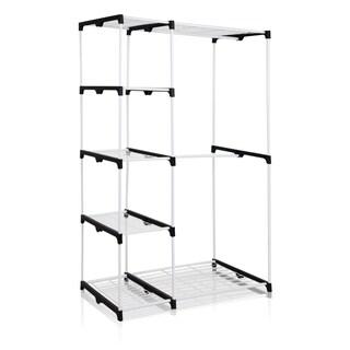 Furinno Wayar Grey Metal Freestanding Double-rod Closet