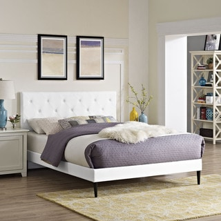 Terisa White Vinyl Platform Bed with Round Tapered Legs