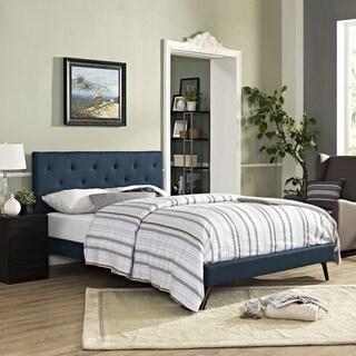 Terisa Azure Fabric Platform Bed with Round Splayed Legs