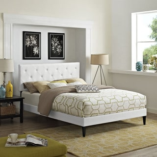 Terisa White Vinyl Platform Bed with Squared Tapered Legs