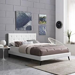 Terisa White Vinyl Platform Bed with Round Splayed Legs