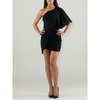 Women's Black Viscose One-shoulder Crochet Sheath Dress