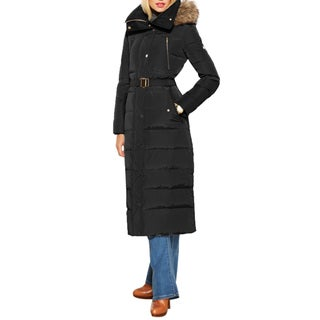 Michael Kors Women's Black Polyester Belted Maxi Coat