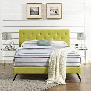 Terisa Wheatgrass Fabric Platform Bed with Round Splayed Legs