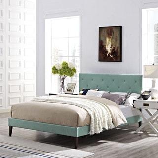 Terisa Laguna Fabric Platform Bed with Squared Tapered Legs