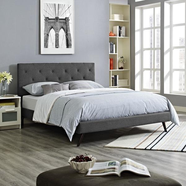 Terisa Grey Fabric Platform Bed with Round Splayed Legs