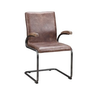 Aurelle Home Distressed Rustic Leather Dining Chair (Set of 2)
