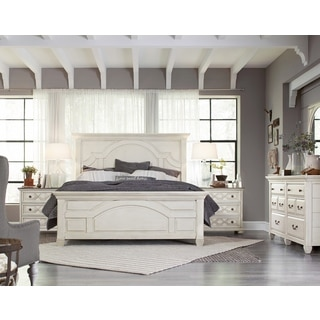 Magnussen Home Furnishings Hancock Park Vintage White Hardwood King Panel Bed