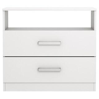 Homestar Alexander White/Brown Laminate/MDF 2-drawer Nightstand
