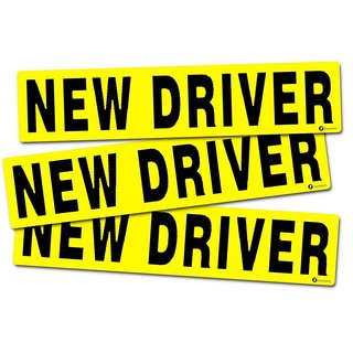 Zone Tech 'New Driver' Yellow and Black Vehicle Bumper Magnet (Set of 3)