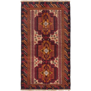 Ecarpetgallery Kazak Ivory, Red  Wool Rug (3'8 x 6'2)