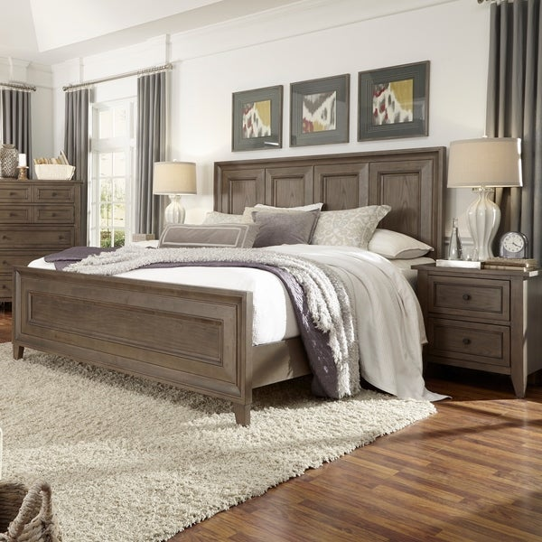 Talbot Transitional Driftwood Finish Wood And Veneer King Panel Bed
