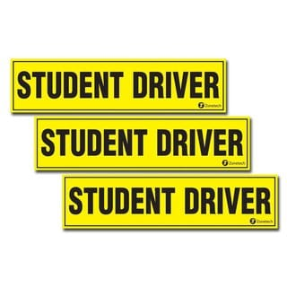 Zone Tech 'Student Driver' Yellow and Black Vehicle Bumper Magnets (Pack of 3)