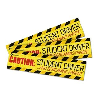 Zone Tech 'Caution Student Driver and Screaming Parent' Yellow and Black Magnets (Pack of 3)