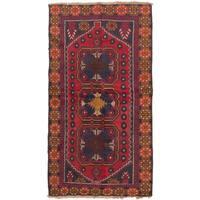 Ecarpetgallery Baluch Red  Wool Rug (3'5 x 6'0)