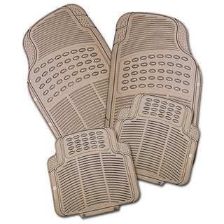 Zone Tech Beige Rubber All-weather Heavy-duty Car Interior Floor Mats (Pack of 4)