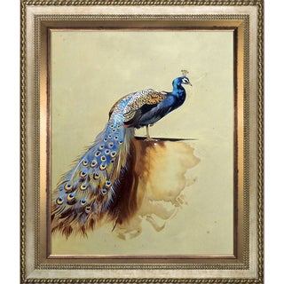 Archibald Thorburn 'Peacock' (Luxury Line) Hand Painted Framed Oil Reproduction on Canvas