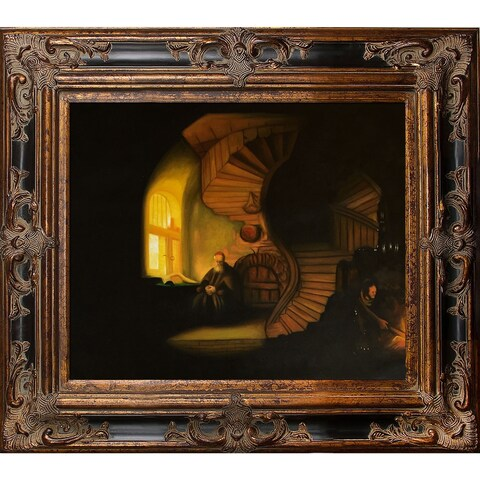 Rembrandt van Rijn 'The Philosopher in Meditation' Hand Painted Framed Oil Reproduction on Canvas