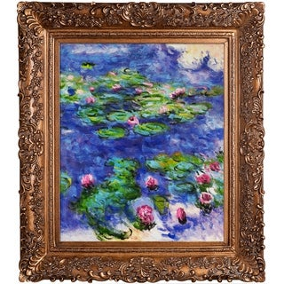Claude Monet 'Water Lilies' Hand Painted Framed Oil Reproduction on Canvas