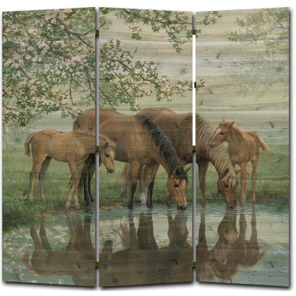 WGI Gallery Sweet Spring Horses Room Screen Printed on Wood