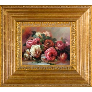 Pierre-Auguste Renoir 'Discarded Roses' Hand Painted Framed Oil Reproduction on Canvas