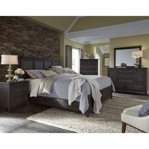 Magnussen Home Furnishings Mill River Weathered Charcoal Finish Wood Pine And Veneer Queen
