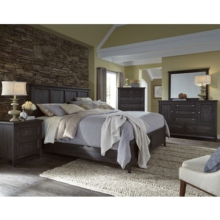 Magnussen Home Furnishings Mill River Weathered Charcoal-finish Wood, Pine, and Veneer Queen Panel Bed
