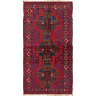 Ecarpetgallery Bahor Blue, Red  Wool Rug (3'4 x 6'3)