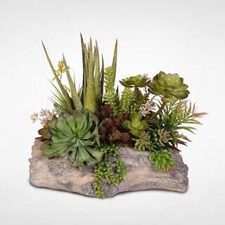 Silk Succulent arrangement in a Cement Pot
