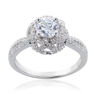 Filigree Design Solitare CZ Engagement-Style Ring