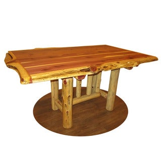 Red Cedar Log Trestle Dining Table