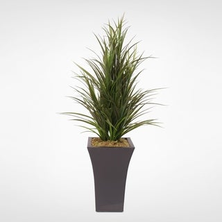 Faux Dracaena Grass Bush in Tall Metal Container
