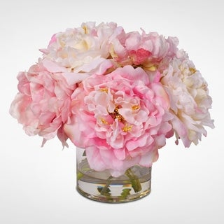 Glass and Faux Water Vace With Silk French Peonies