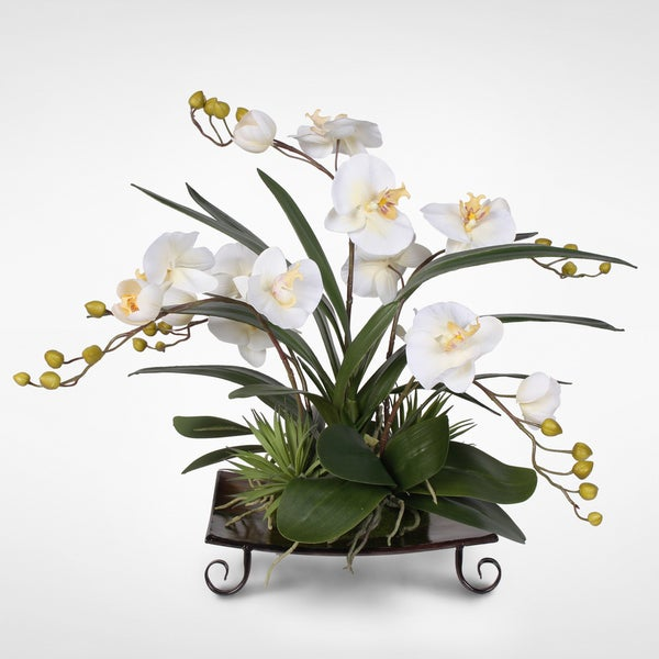 Real Touch Silk Phalaenopsis Orchids With Succulents on Metal Tray