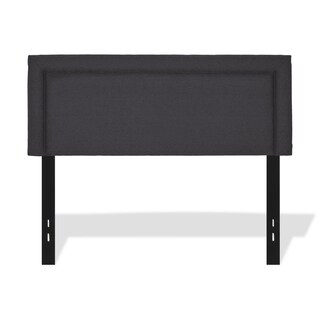 Clay Alder Home Halfway Adjustable Headboard with Upholstered Panel and Piping Trim Design