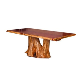 Rustic Red Cedar Log Tree Stump Dining Table - Rustic Red