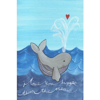 Marmont Hill - 'Whale Love' by Melonie Madison Painting Print on Wrapped Canvas