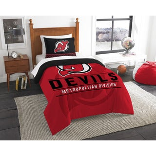 The Northwest Company NHL Devils Red/Black/White Polyester 2-piece Twin Comforter Set