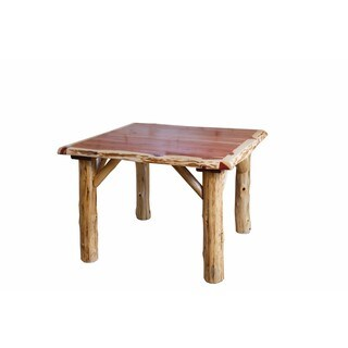 Rustic Red Cedar Log Square Dining Table - Rustic Red