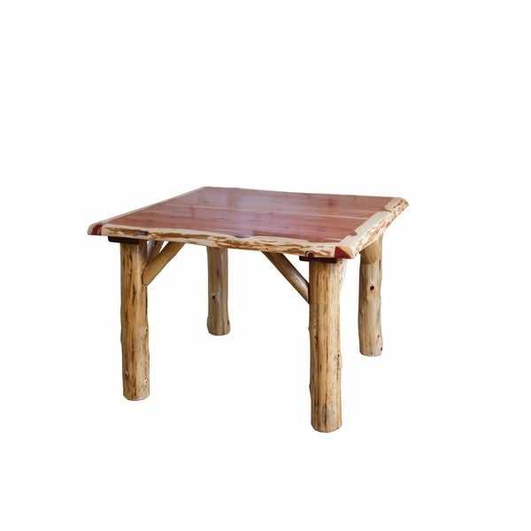 Log Dining Room Tables: RUSTIC RED CEDAR LOG TRADITIONAL SQUARE DINING TABLE