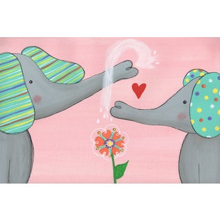 Marmont Hill - 'Elephant Love' by Melonie Madison Painting Print on Wrapped Canvas