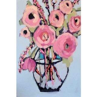 Marmont Hill - 'Lots of Pink Flowers' by Michelle Rivera Painting Print on Wrapped Canvas