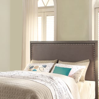 Normandy Metal Headboard with Steel Gray Upholstery and Nailhead Trim