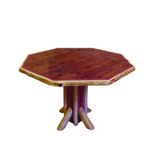 RUSTIC RED CEDAR LOG OCTAGON DINING TABLE